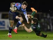 20 February 2021; Owen Lane of Cardiff Blues gets past Matt Healy of Connacht during the Guinness PRO14 match between Connacht and Cardiff Blues at The Sportsground in Galway. Photo by Piaras Ó Mídheach/Sportsfile