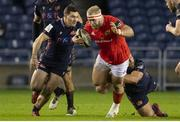20 February 2021; Jeremy Loughman of Munster is tackled by Boan Venter and Mike Willemse of Edinburgh during the Guinness PRO14 match between Edinburgh and Munster at BT Murrayfield Stadium in Edinburgh, Scotland. Photo by Paul Devlin/Sportsfile