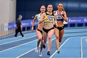 21 February 2021; Phil Healy of Bandon AC, Cork, centre, on her way to winning the Women's 400m, with a PB of 51.99, ahead of Sophie Becker of Raheny Shamrock AC, Dublin, left, who finished second, and Sharlene Mawdsley of Newport AC, Tipperary, who finished third, during day two of the Irish Life Health Elite Athlete Indoor Micro Meet at Sport Ireland National Indoor Arena at the Sport Ireland Campus in Dublin. Photo by Sam Barnes/Sportsfile