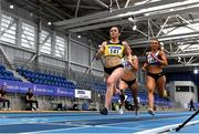 21 February 2021; Phil Healy of Bandon AC, Cork, left, on her way to winning the Women's 400m, with a PB of 51.99, ahead of Sophie Becker of Raheny Shamrock AC, Dublin, hidden, who finished second, and Sharlene Mawdsley of Newport AC, Tipperary, right, who finished third, during day two of the Irish Life Health Elite Athlete Indoor Micro Meet at Sport Ireland National Indoor Arena at the Sport Ireland Campus in Dublin. Photo by Sam Barnes/Sportsfile