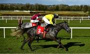 21 February 2021; Espanito Bello, with Mark Bolger up, right, races up the home straight next to eventual winner Coko Beach, with Jack Kennedy up, on their way to finishing second in the Ladbrokes Ten Up Novice Steeplechase at Navan Racecourse in Meath. Photo by David Fitzgerald/Sportsfile
