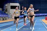 21 February 2021; Georgie Hartigan of Dundrum South Dublin AC, Dublin, right, reacts after she crosses the line to win the Women's 800m, ahead of Louise Shanahan of Leevale AC, Cork, left, who finished second, during day two of the Irish Life Health Elite Athlete Indoor Micro Meet at Sport Ireland National Indoor Arena at the Sport Ireland Campus in Dublin. Photo by Sam Barnes/Sportsfile