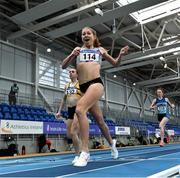 21 February 2021; Georgie Hartigan of Dundrum South Dublin AC, Dublin, reacts as she crosses the line to win the Women's 800m, ahead of Louise Shanahan of Leevale AC, Cork, left, who finished second, during day two of the Irish Life Health Elite Athlete Indoor Micro Meet at Sport Ireland National Indoor Arena at the Sport Ireland Campus in Dublin. Photo by Sam Barnes/Sportsfile