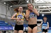 21 February 2021; Georgie Hartigan of Dundrum South Dublin AC, Dublin, centre, reacts after winning in the Women's 800m with a PB of 2:01.48, ahead of Louise Shanahan of Leevale AC, Cork, left, who finished second, during day two of the Irish Life Health Elite Athlete Indoor Micro Meet at Sport Ireland National Indoor Arena at the Sport Ireland Campus in Dublin. Photo by Sam Barnes/Sportsfile