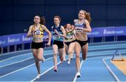 21 February 2021; Georgie Hartigan of Dundrum South Dublin AC, Dublin, right, on her way to winning the Women's 800m, ahead of Louise Shanahan of Leevale AC, Cork, left, who finished second, during day two of the Irish Life Health Elite Athlete Indoor Micro Meet at Sport Ireland National Indoor Arena at the Sport Ireland Campus in Dublin. Photo by Sam Barnes/Sportsfile