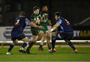 20 February 2021; Jack Carty of Connacht in action against Dmitri Arhip, left, and Rory Thornton of Cardiff Blues during the Guinness PRO14 match between Connacht and Cardiff Blues at The Sportsground in Galway. Photo by Piaras Ó Mídheach/Sportsfile