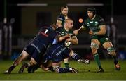 20 February 2021; Jordan Duggan of Connacht is tackled by Rhys Carré, 1, and Shane Lewis-Hughes of Cardiff Blues during the Guinness PRO14 match between Connacht and Cardiff Blues at The Sportsground in Galway. Photo by Piaras Ó Mídheach/Sportsfile