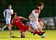 21 February 2021; Darragh Burns of St Patrick's Athletic is tackled by Ronan Hurley of Cork City during the pre-season friendly match between Cork City and St Patrick's Athletic at O'Shea Park in Blarney, Cork. Photo by Eóin Noonan/Sportsfile