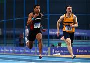 21 February 2021; Leon Reid of Menapians AC, Wexford, left, on his way to winning the Men's 60m, ahead Conor Morey of Leevale AC, Cork, right, who finished third, during day two of the Irish Life Health Elite Athlete Indoor Micro Meet at Sport Ireland National Indoor Arena at the Sport Ireland Campus in Dublin. Photo by Sam Barnes/Sportsfile