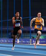 21 February 2021; Leon Reid of Menapians AC, Wexford, left, on his way to winning the Men's 60m, ahead and Conor Morey of Leevale AC, Cork, right, who finished third, during day two of the Irish Life Health Elite Athlete Indoor Micro Meet at Sport Ireland National Indoor Arena at the Sport Ireland Campus in Dublin. Photo by Sam Barnes/Sportsfile