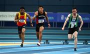 21 February 2021; Leon Reid of Menapians AC, Wexford, centre, on his way to winning the Men's 60m ahead of, Joseph Ojewumi of Tallaght AC, Dublin, left, and Dean Adams of Ballymena & Antrim AC, right, during day two of the Irish Life Health Elite Athlete Indoor Micro Meet at Sport Ireland National Indoor Arena at the Sport Ireland Campus in Dublin. Photo by Sam Barnes/Sportsfile