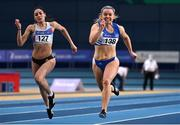 21 February 2021; Molly Scott of St Laurence O'Tooles AC, Carlow, right, on her way to winning the Women's 60m, ahead of Kate Doherty of Dundrum South Dublin AC, centre, who finished third, during day two of the Irish Life Health Elite Athlete Indoor Micro Meet at Sport Ireland National Indoor Arena at the Sport Ireland Campus in Dublin. Photo by Sam Barnes/Sportsfile