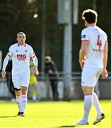 21 February 2021; John Mountney of St Patrick's Athletic, left, with team-mate Sam Bone during the pre-season friendly match between Cork City and St Patrick's Athletic at O'Shea Park in Blarney, Cork. Photo by Eóin Noonan/Sportsfile