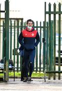 21 February 2021; Sam Bone of St Patrick's Athletic makes his way out to the pitch prior to the pre-season friendly match between Cork City and St Patrick's Athletic at O'Shea Park in Blarney, Cork. Photo by Eóin Noonan/Sportsfile
