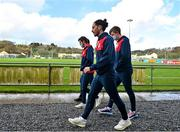 21 February 2021; Ronan Coughlan of St Patrick's Athletic, centre, with team-mates prior to the pre-season friendly match between Cork City and St Patrick's Athletic at O'Shea Park in Blarney, Cork. Photo by Eóin Noonan/Sportsfile