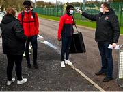 21 February 2021; Players have their temperature taken on arrival prior to the pre-season friendly match between Cork City and St Patrick's Athletic at O'Shea Park in Blarney, Cork. Photo by Eóin Noonan/Sportsfile