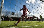 21 February 2021; George Heaven of Cork City clears the ball off the line during the pre-season friendly match between Cork City and St Patrick's Athletic at O'Shea Park in Blarney, Cork. Photo by Eóin Noonan/Sportsfile