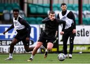 23 February 2021; Patrick McEleney, right, and Ebuka Kwelele during a Dundalk Pre-Season training session at Oriel Park in Dundalk, Louth. Photo by Ben McShane/Sportsfile