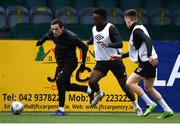 23 February 2021; Raivis Jurjovskis, left, in action against Ebuka Kwelele, centre, and Darragh Leahy during a Dundalk Pre-Season training session at Oriel Park in Dundalk, Louth. Photo by Ben McShane/Sportsfile