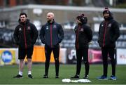 23 February 2021; Dundalk backroom staff, from left, physiotherapist David Murphy, strength and conditioning coach Graham Norton, sport scientist Lorcan Mason and part-time physiotherapist Conor Doran during a Dundalk Pre-Season training session at Oriel Park in Dundalk, Louth. Photo by Ben McShane/Sportsfile