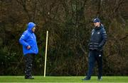 23 February 2021; Scrum coach Robin McBryde, left, with head coach Leo Cullen during a Leinster Rugby squad training session at UCD in Dublin. Photo by Brendan Moran/Sportsfile