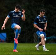 23 February 2021; Dan Sheehan, left, and Caelan Doris during a Leinster Rugby squad training session at UCD in Dublin. Photo by Brendan Moran/Sportsfile