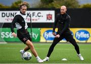 23 February 2021; Chris Shields, right, and Daniel Cleary during a Dundalk Pre-Season training session at Oriel Park in Dundalk, Louth. Photo by Ben McShane/Sportsfile