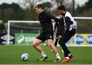23 February 2021; Patrick McEleney, left, and Sam Staunton during a Dundalk Pre-Season training session at Oriel Park in Dundalk, Louth. Photo by Ben McShane/Sportsfile