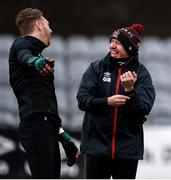23 February 2021; Goalkeeping coach Graham Byas, right, and Peter Cherrie share a joke ahead of a Dundalk Pre-Season training session at Oriel Park in Dundalk, Louth. Photo by Ben McShane/Sportsfile