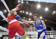 25 February 2021; Brendan Irvine of Ireland, right, and Bashkim Bajoku of Kosovo compete in their men's flyweight 52kg quarter-final bout at the AIBA Strandja Memorial Boxing Tournament in Sofia, Bulgaria. Photo by Alex Nicodim/Sportsfile