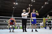 25 February 2021; Brendan Irvine of Ireland is declared victorious over Bashkim Bajoku of Kosovo following their men's flyweight 52kg quarter-final bout at the AIBA Strandja Memorial Boxing Tournament in Sofia, Bulgaria. Photo by Alex Nicodim/Sportsfile