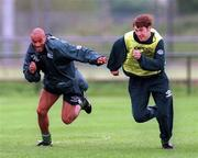 19 May 1997; Curtis Fleming, left, and Kenny Cunningham during a Republic of Ireland training session at AUL Complex in Clonshaugh, Dublin. Photo by David Maher/Sportsfile