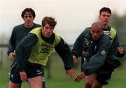 19 May 1997; Republic of Ireland players, from left, Dave Savage, Kenny Cunningham, Curtis Fleming and Ian Harte during a Republic of Ireland training session at AUL Complex in Clonshaugh, Dublin. Photo by David Maher/Sportsfile