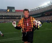 18 June 1994; Packie Bonner of Republic of Ireland celebrates following his side's victory during their FIFA World Cup 1994 Group E match against Italy at Giants Stadium in New Jersey, USA. Photo by Ray McManus/Sportsfile