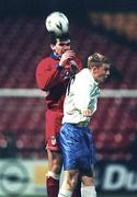 27 November 1998; Pat Scully of Shelbourne in action against Glenn Fitzpatrick of UCD during the Harp Lager National League Premier Division Shelbourne and UCD at Tolka Park in Dublin. Photo by David Maher/Sportsfile