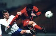 27 November 1998; Pat Scully of Shelbourne in action against Glenn Fitzpatrick of UCD during the Harp Lager National League Premier Division match between Shelbourne and UCD at Tolka Park in Dublin. Photo by David Maher/Sportsfile