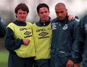 19 May 1997; Republic of Ireland players, from left, Ray Houghton, Gary kelly and Curtis Fleming during a training session at AUL Complex in Clonshaugh, Dublin. Photo by David Maher/Sportsfile