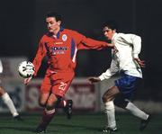 27 November 1998; Stephen Geoghegan of Shelbourne in action against Alan Mahon of UCD during the Harp Lager National League Premier Division match between Shelbourne and UCD at Tolka Park in Dublin. Photo by David Maher/Sportsfile