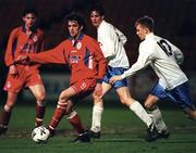 27 November 1998; Tony Sheridan of Shelbourne in action against Glenn Fitzpatrick of UCD during the Harp Lager National League Premier Division match between Shelbourne and UCD at Tolka Park in Dublin. Photo by David Maher/Sportsfile