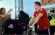 10 July 2013; Brian O'Driscoll, British & Irish Lions, pictured on his arrival home following the side's series victory over Australia in the British & Irish Lions Tour 2013. Dublin Airport, Dublin. Picture credit: Brian Lawless / SPORTSFILE