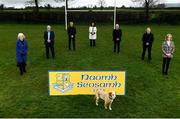 26 February 2021; The GAA President's awards winners, from left, Betty Moore, Sean Dempsey, PJ Dempsey, Ann Smith, Michael Dempsey, Martin Dempsey, Margaret Farrelly, and their dog Billy at St Joseph's GAA club in Milltown, Laois. Photo by Harry Murphy/Sportsfile