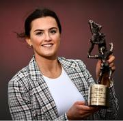 27 February 2021; Aimee Mackin of Armagh at her club Shane O'Neills with her 2020 TG4 Senior Players' Player of the Year award at Camough in Armagh. Photo by David Fitzgerald/Sportsfile