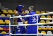 25 February 2021; Naomi Graham of USA and coach Billy Walsh during her women's middleweight 75kg quarter-final bout with Kachari Bhagyabati of India at the AIBA Strandja Memorial Boxing Tournament in Sofia, Bulgaria. Photo by Alex Nicodim/Sportsfile