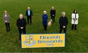 26 February 2021; The GAA President's awards winners, from left, Margaret Farrelly, Martin Dempsey, Sean Dempsey, Betty Moore, Michael Dempsey, PJ Dempsey, Ann Smith and their dog Billy at St Joseph's GAA club in Milltown, Laois. Photo by Harry Murphy/Sportsfile