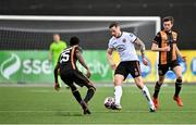 26 February 2021; Rob Cornwall of Bohemians in action against Val Adedokun, left, and Sam Stanton of Dundalk during the pre-season friendly match between Dundalk and Bohemians at Oriel Park in Dundalk, Louth. Photo by Seb Daly/Sportsfile