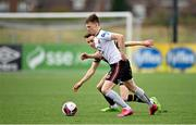 26 February 2021; Andy Lyons of Bohemians in action against Darragh Leahy of Dundalk during the pre-season friendly match between Dundalk and Bohemians at Oriel Park in Dundalk, Louth. Photo by Seb Daly/Sportsfile