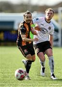 26 February 2021; Jesus Perez in action against Ciarán Kelly of Bohemians during the pre-season friendly match between Dundalk and Bohemians at Oriel Park in Dundalk, Louth. Photo by Seb Daly/Sportsfile