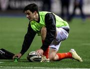 26 February 2021; Joey Carbery of Munster during the warm up ahead of the Guinness PRO14 match between Cardiff Blues and Munster at Cardiff Arms Park in Cardiff, Wales. Photo by Chris Fairweather/Sportsfile