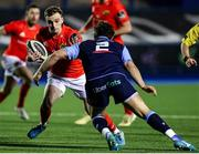 26 February 2021; Nick McCarthy of Munster in action against Kirby Myhill of Cardiff Blues during the Guinness PRO14 match between Cardiff Blues and Munster at Cardiff Arms Park in Cardiff, Wales. Photo by Chris Fairweather/Sportsfile