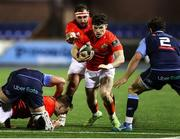 26 February 2021; Nick McCarthy of Munster is challenged by Kirby Myhill of Cardiff Blues during the Guinness PRO14 match between Cardiff Blues and Munster at Cardiff Arms Park in Cardiff, Wales. Photo by Chris Fairweather/Sportsfile